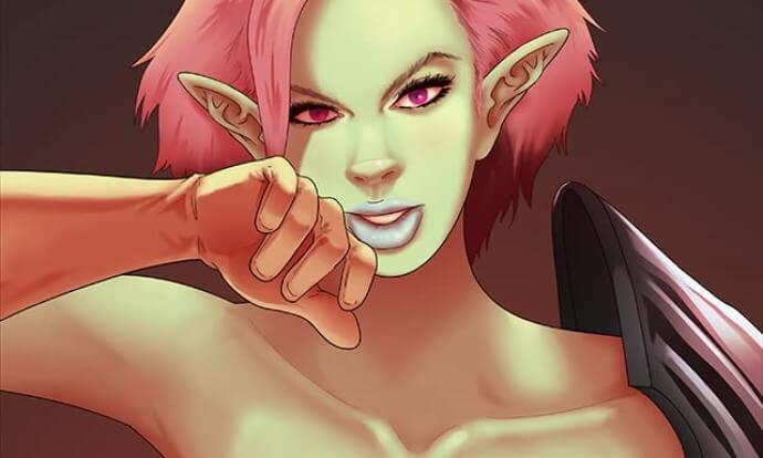 A half-orc woman with pink hair