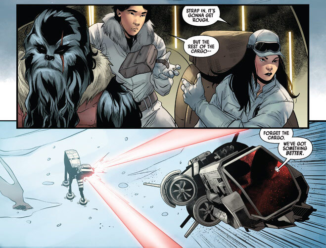 Aphra and two of her crewmates speed away in their shuttle from a shooting AT-AT on Hoth