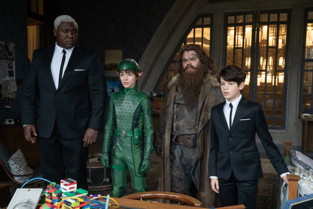 The cast of Disney's Artemis Fowl (2020). From left to right: Butler, Holly Short, Mulch Diggums, Artemis Fowl.