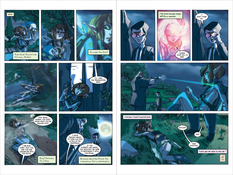 Sample spread from the first book of Artemis Fowl: The Graphic Novel. Here, Artemis meets Holly Short for the first time and attempts to capture her.