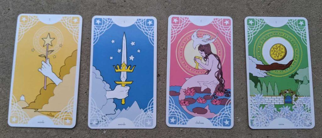 Four cards from Trungles' Star Spinner Tarot; the Ace of Wands, the Ace of Swords, the Ace of Chalices, the Ace of Coins