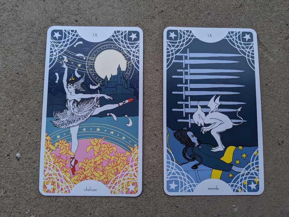 Two cards from Trungles' Star Spinner Tarot: the 9 of Chalices, the 9 of Swords