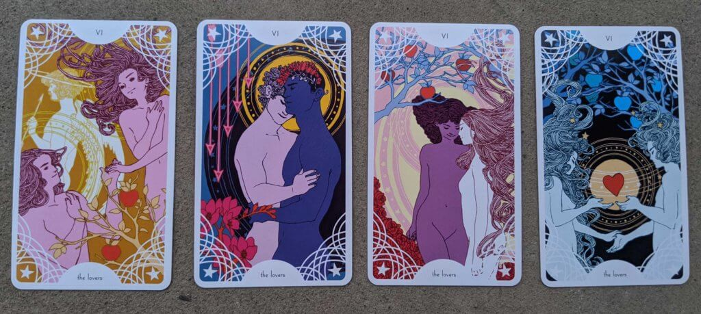 Four different Lovers cards from Trungles' Star Spinner Tarot, depicting 4 different relationship configurations