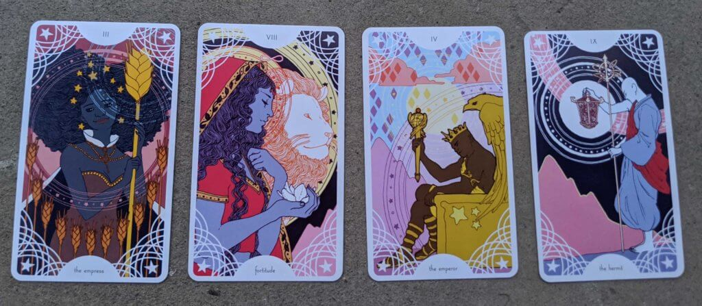 Four cards from Trungles' Star Spinner Tarot: the Empress, Fortitude, the Emperor, the Hermit