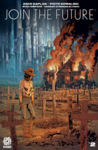 Clem stands in front of the burning remains of her hometown, in stark contrasting to the gleaming metropolis behind.