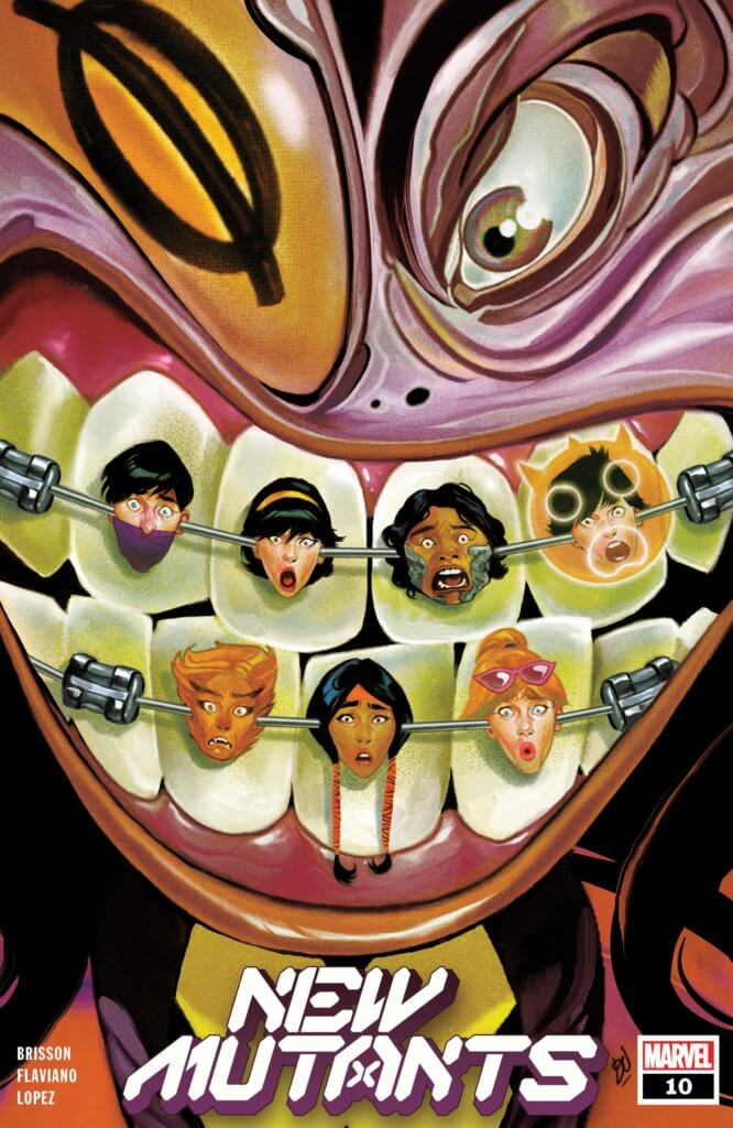 The New Mutants grimace in a nightmarish cover that reimagines their faces stuck in the braces of a monstrous, distorted face.