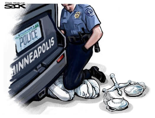 """Steve Sack's cartoon I can't breathe"""" for the Star Tribune, May 27th 2020"""