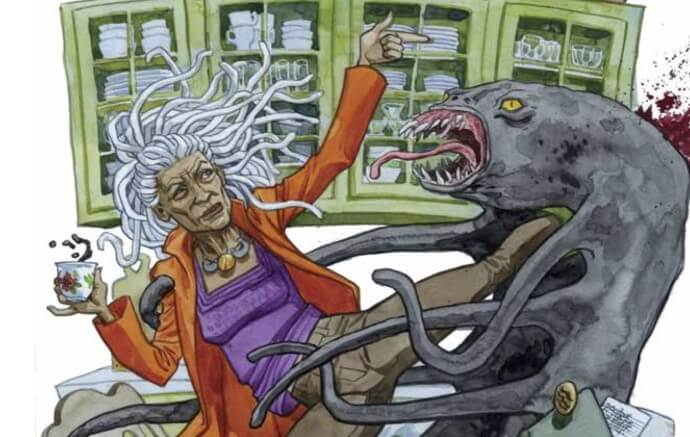 An older woman plants a flying kick in a tentacled demon's throat while holding her tea