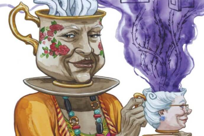 Lottie Thorn's head is a tea cup and she is holding a tea cup that is Lady Peruvia's head. It's weird