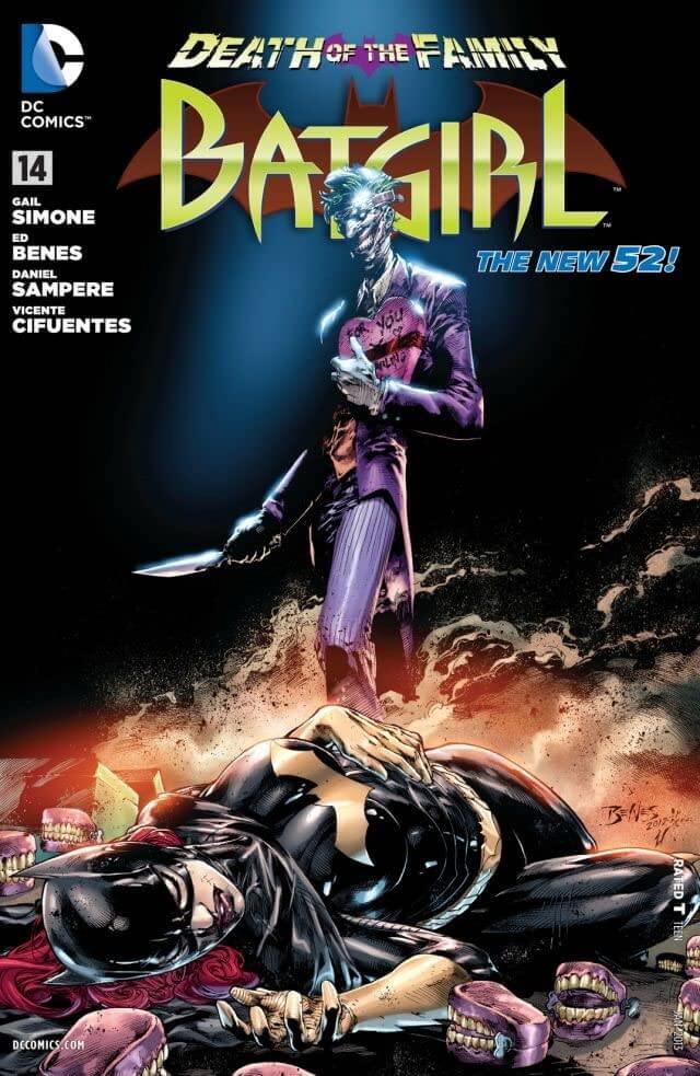 Joker standing over a fallen Batgirl