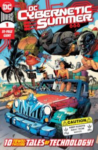 Batman, Wonder Woman, Harley, Cyborg, Cyborg Superman, Flash, OMAC, Red Tornado and the Metal Men all heading to the beach