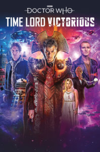 The Tenth Doctor, wearing armor, stands in space with the Eighth Doctor, Ninth Doctor, and companion Rose in the background