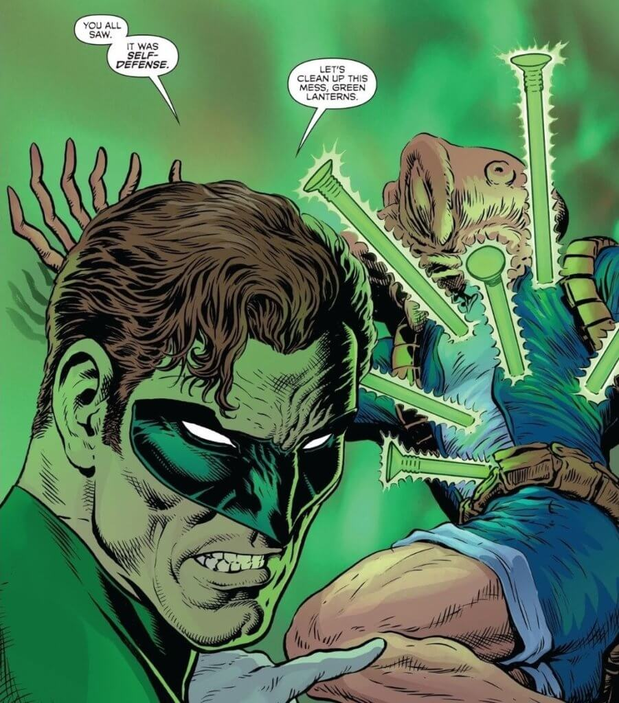 Hal Jordan murders a suspect in custody in The Green Lantern #3.