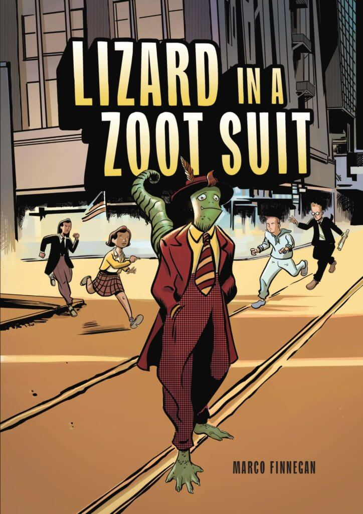 A lizard wearing a zoot suit looks sad. Children and adults are running towards him