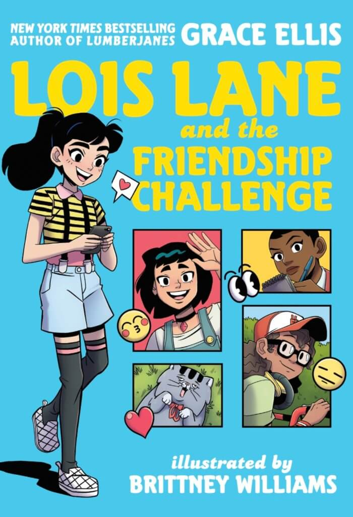 the cover of Lois Lane and the Friendship Challenge shows Lois texting with other characters in panels
