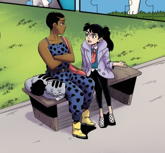 Two humans and a cat share a park bench in this Preview image of Lois with Henri, available: https://www.dccomics.com/reader/#/comics/449290