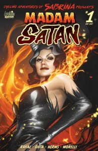 Madame Satan - a red-headed older woman with grey highlights and grey horns - stands before a flaming background. She wears a tight leather minidress and elbow-length black gloves.