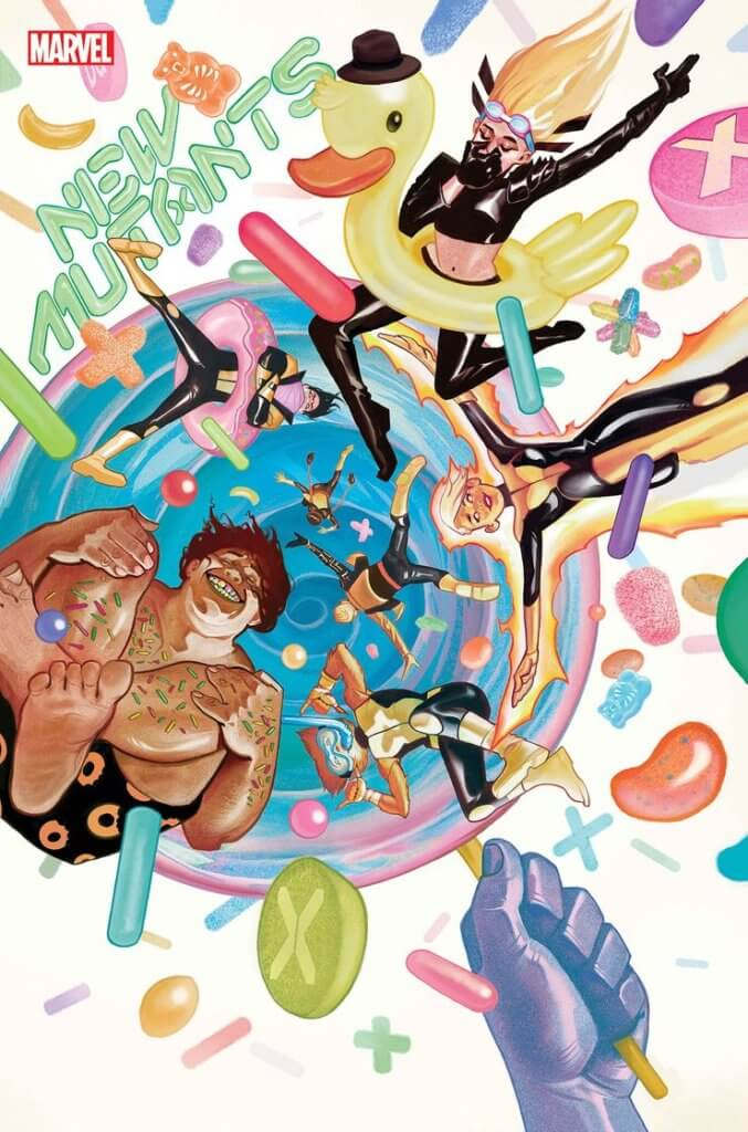 The New Mutants float through a jewel-toned dream scene, all falling into what looks like a swimming pool of candy, in Mike del Mundo's cover for New Mutants #11.