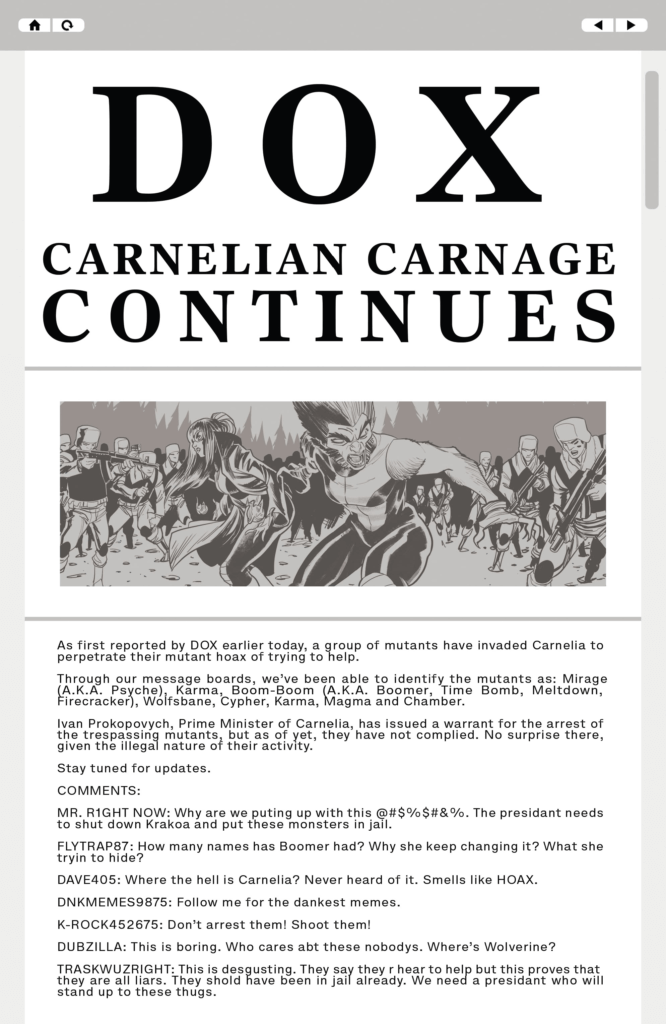"A data page from New Mutants #11 that shows a screenshot from the website DOX, with a headline reading ""Carnelian Carnage Continues."""