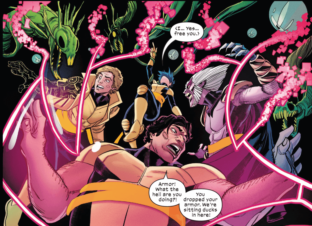 The New Mutants trapped within Cosmar's nightmare sphere, in New Mutants #11.