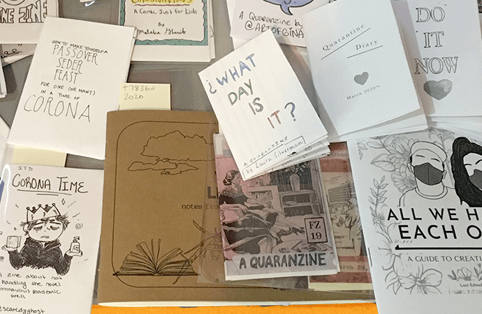 Zines from the Barnard Zine Library COVID-19 collection, image from Jenna Freedman.