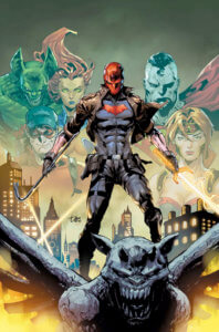 Red Hood on a gargoyle with images of outlaws past and present behind him