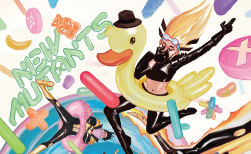 Magik takes a dive in a rubber duck floatie, in this cover detail from del Mundo's cover to New Mutants #11.