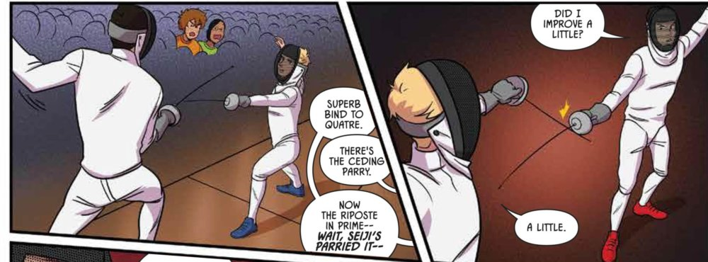 panel from fence rivals depicting characters standing and other characters yelling fencing terminology over them.