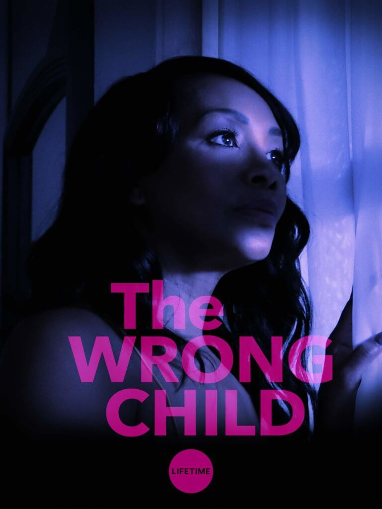 Vivica Fox looks out of a window, she's eerily lit and the text reads The Wrong Child