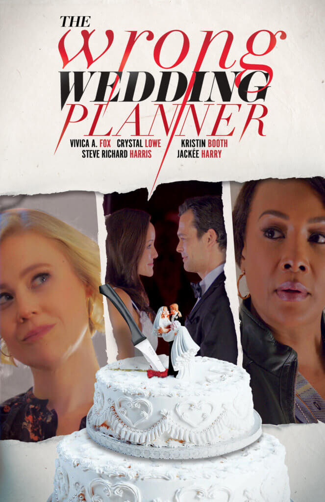 A triptych of images show a married couple and two worried people look on. A wedding cake with a knife in the middle sits at the bottom of the page. The text at the top of the image reads The Wrong Wedding Planner