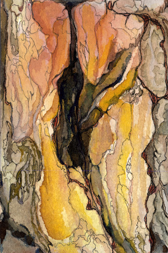 An abstract painting of different colours and shapes that look like the bark of a tree