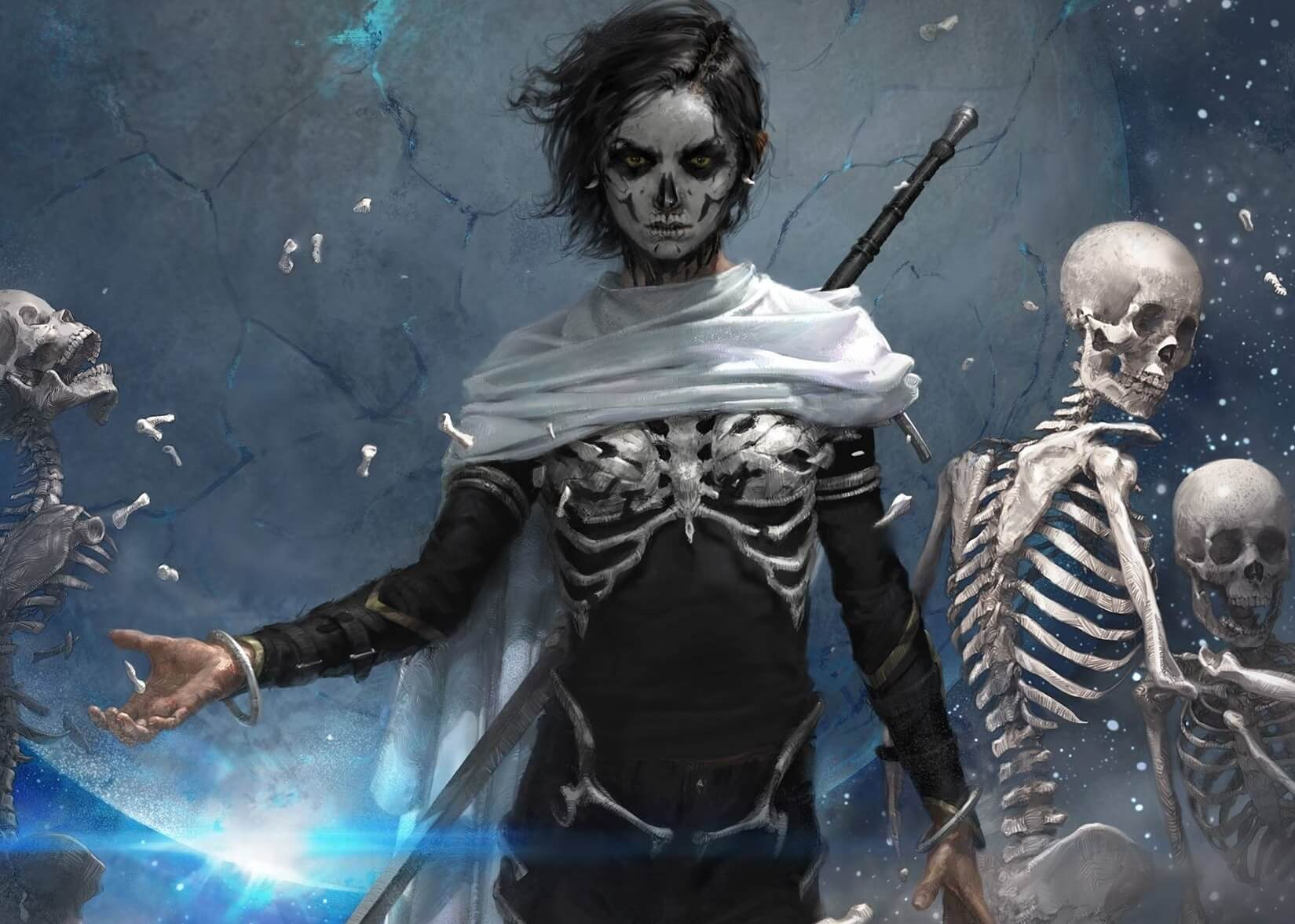 A figure walks forward dressed in skeletal attire and mask, with skeletons behind them
