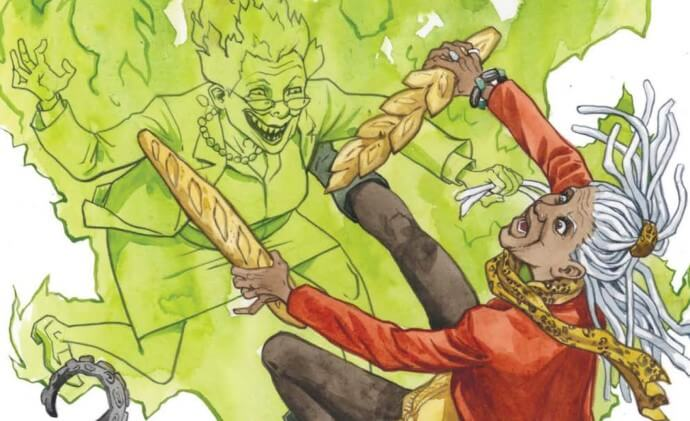 Peruvia, engulfed in green flames and looking monstrous, attacks Lottie, who is falling back, defending herself with breadsticks