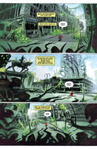 panels of a city overgrown with fauna in Ask for Mercy Season Three: A World of Disquiet