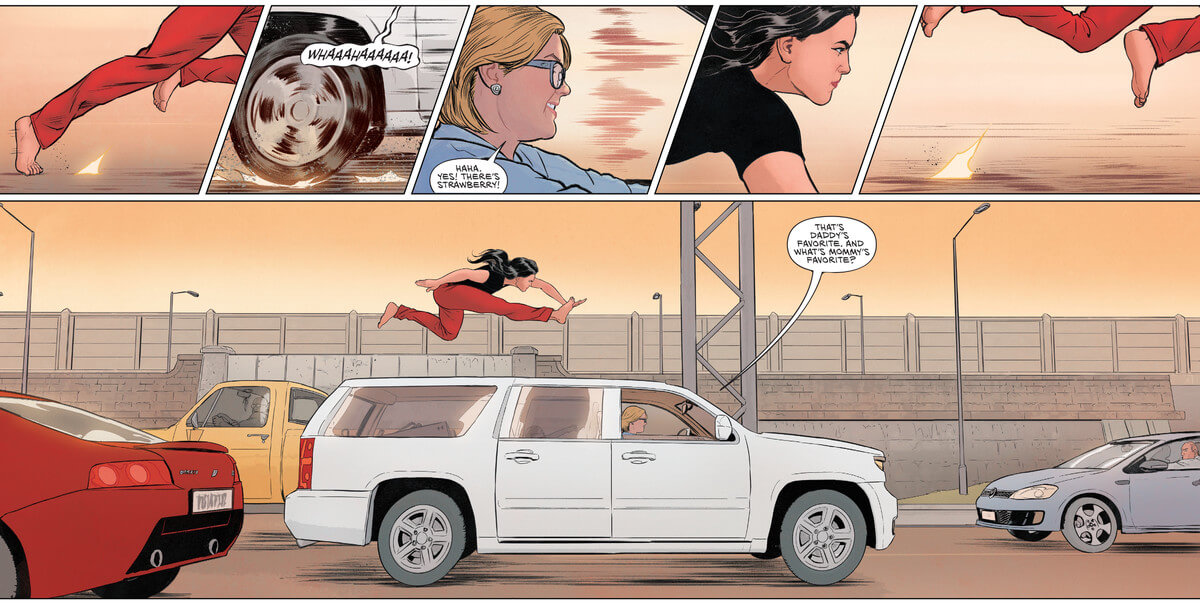 Wonder Woman leaps over a moving vehicle on a busy highway