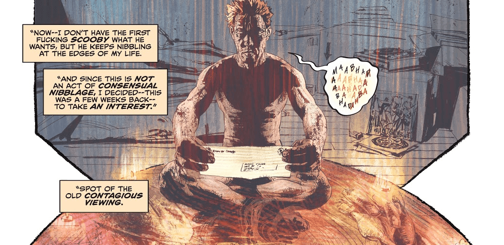 A panel from John Constantine: Hellblazer showing Constantine seated on the floor, casting a spell to find the man in the flat cap who has been involved in all the recent issues.