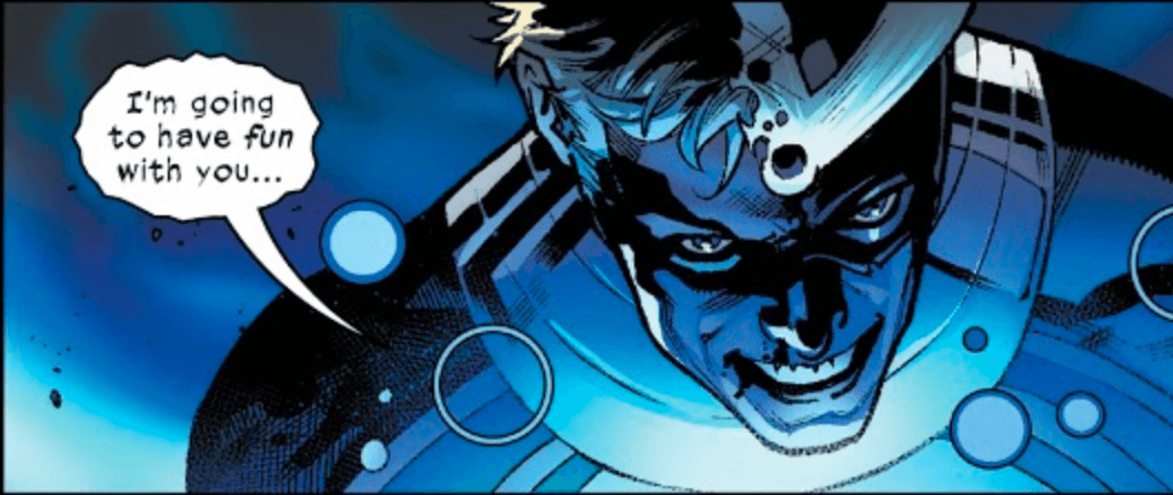 Alex speaking with a corrupted speech bubble from Hellions #1 - March 2020 - Marvel - Art by Segovia