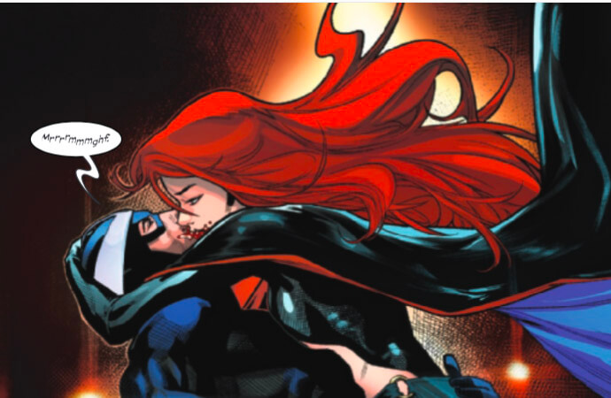 Madelyne Pryor kisses Havok with bloody lips