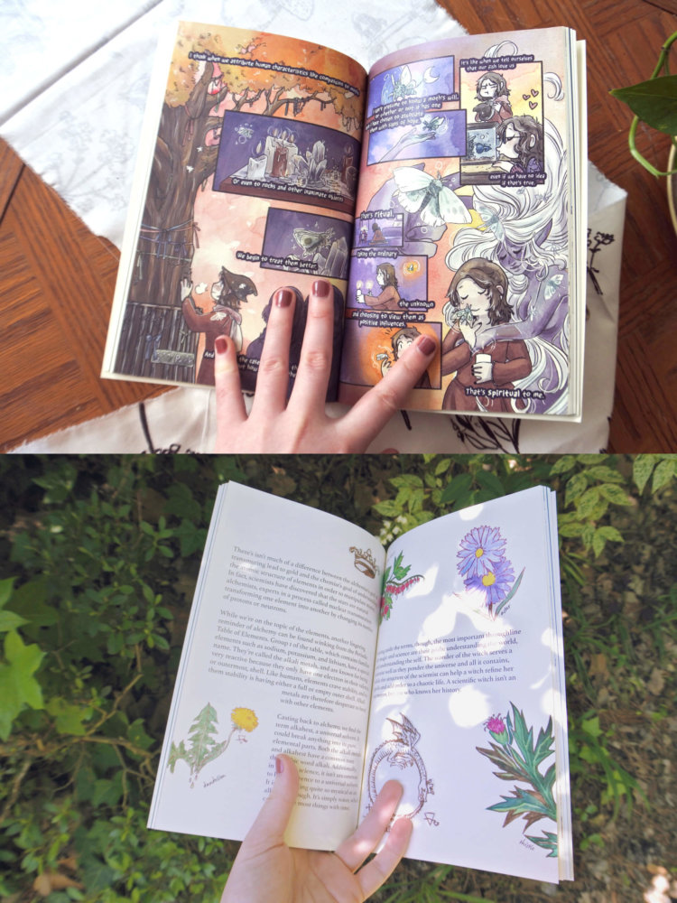 Two photos of hands holding previous Hazel issues. One features a comic where a spirit seems to embrace a human. The second shows various herbs.