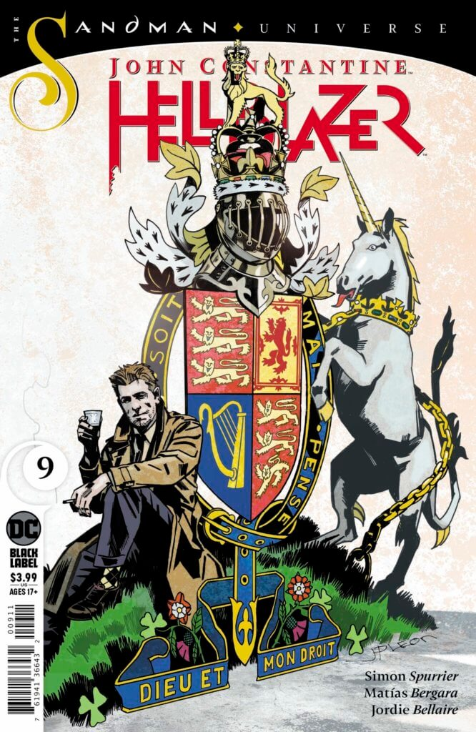 The John Constantine: Hellblazer #9 cover, showing Constantine seated against the British roayl seal.