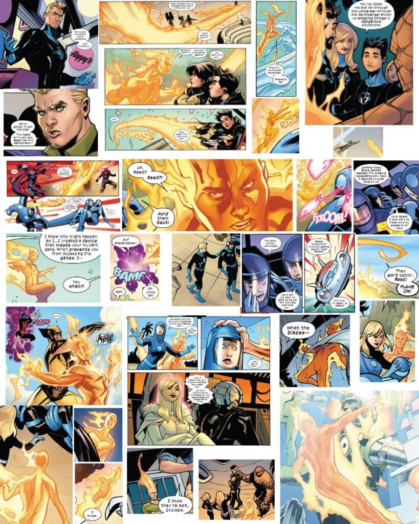 Collage of Johnny Storm appearances from the X-Men vs Fantastic Four miniseries