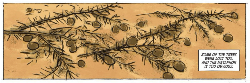 "Panel from ""No Olive Branch for Me"" by writer Nadia Shammas, artist Natasha Alterici, and letterer Aditya Bidikar depicting fallen olive branches"