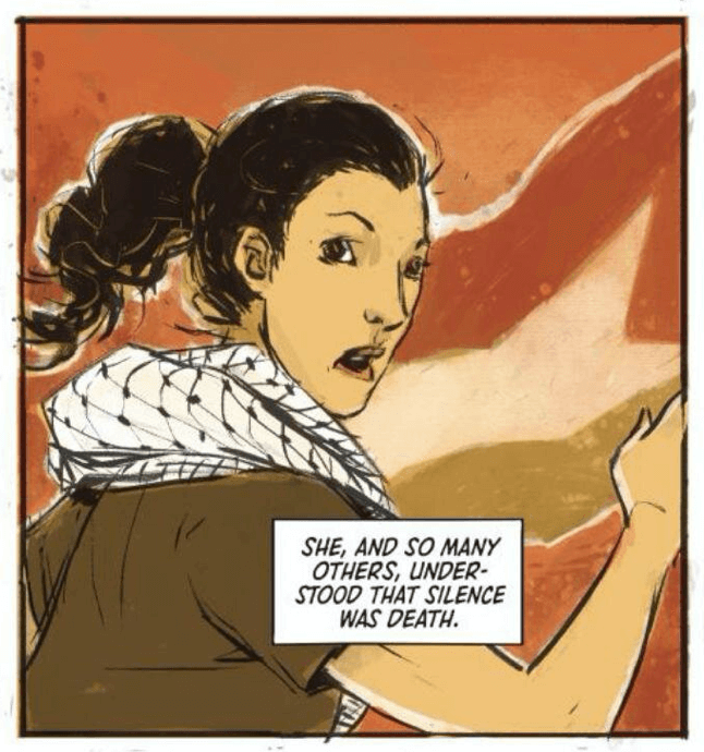 "Panel from ""No Olive Branch for Me"" by writer Nadia Shammas, artist Natasha Alterici, and letterer Aditya Bidikar depicting a woman wearing a keffiyeh in front of the Palestinian flag"