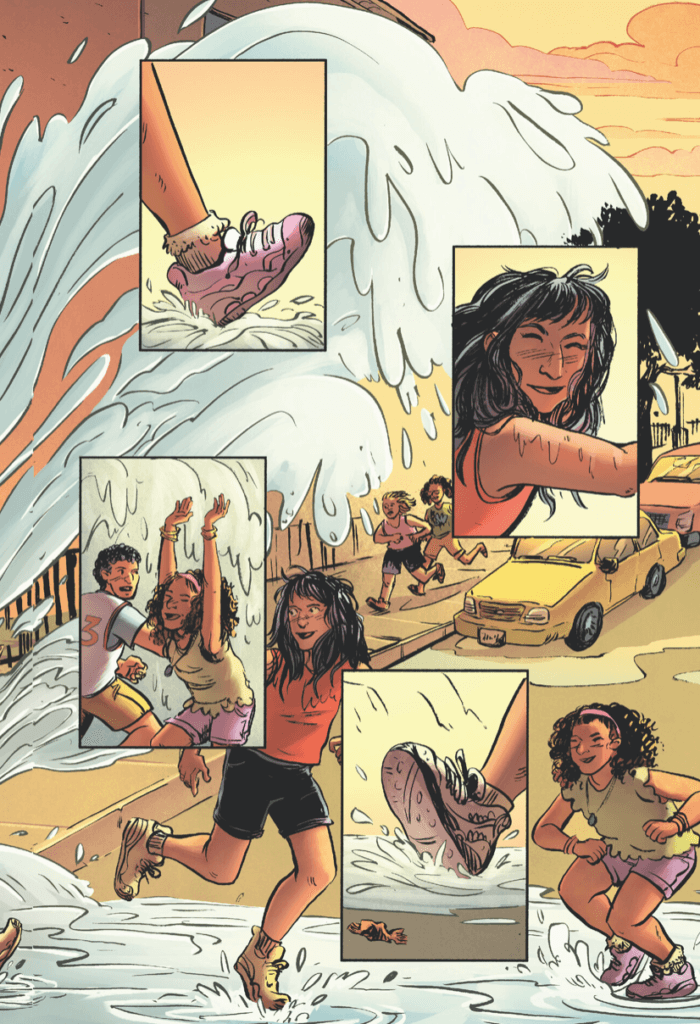 "Page from ""Summer in Brooklyn"" by writer Nadia Shammas, artist Sally Cantirino, colorist Sergey Nazarov, and letterer Hassan Otsmane-Elhaou depicting children playing in water from a hydrant"