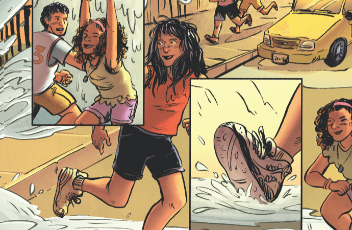 "Part of a page from ""Summer in Brooklyn"" by writer Nadia Shammas, artist Sally Cantirino, colorist Sergey Nazarov, and letterer Hassan Otsmane-Elhaou depicting children playing in water from a hydrant"