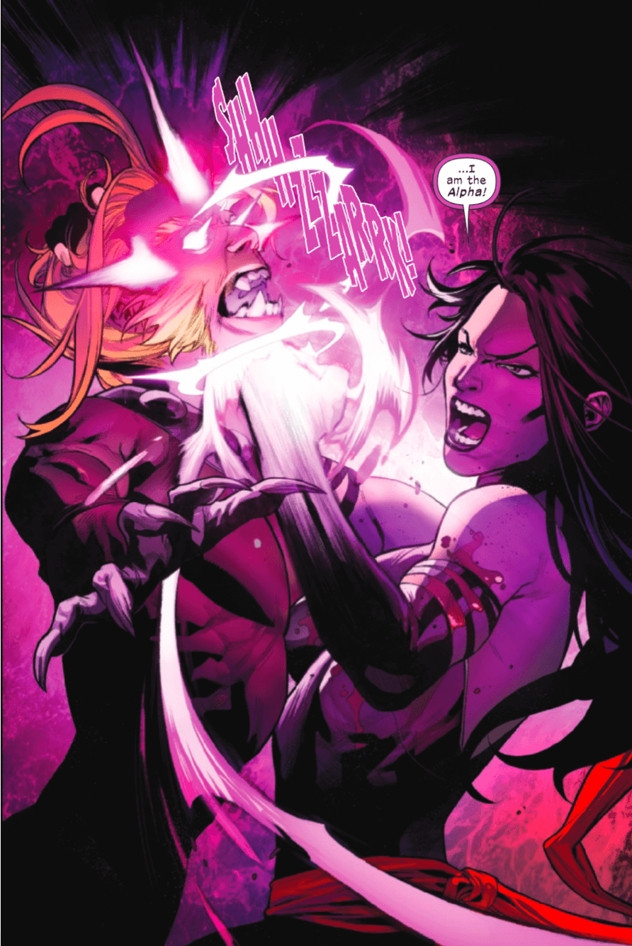 Psylocke stabbing Wild Child with her psychic knife in Hellions #3 - art by Segovia