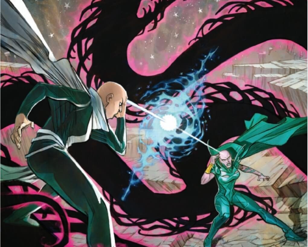 Cover of Guardians of the Galaxy #5, showing the two Moondragons clashing.
