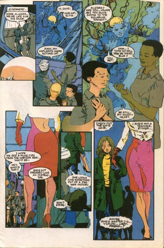 Full Page. Children of the Fortress discuss social plans while Jessie Drake is brought into the facility.