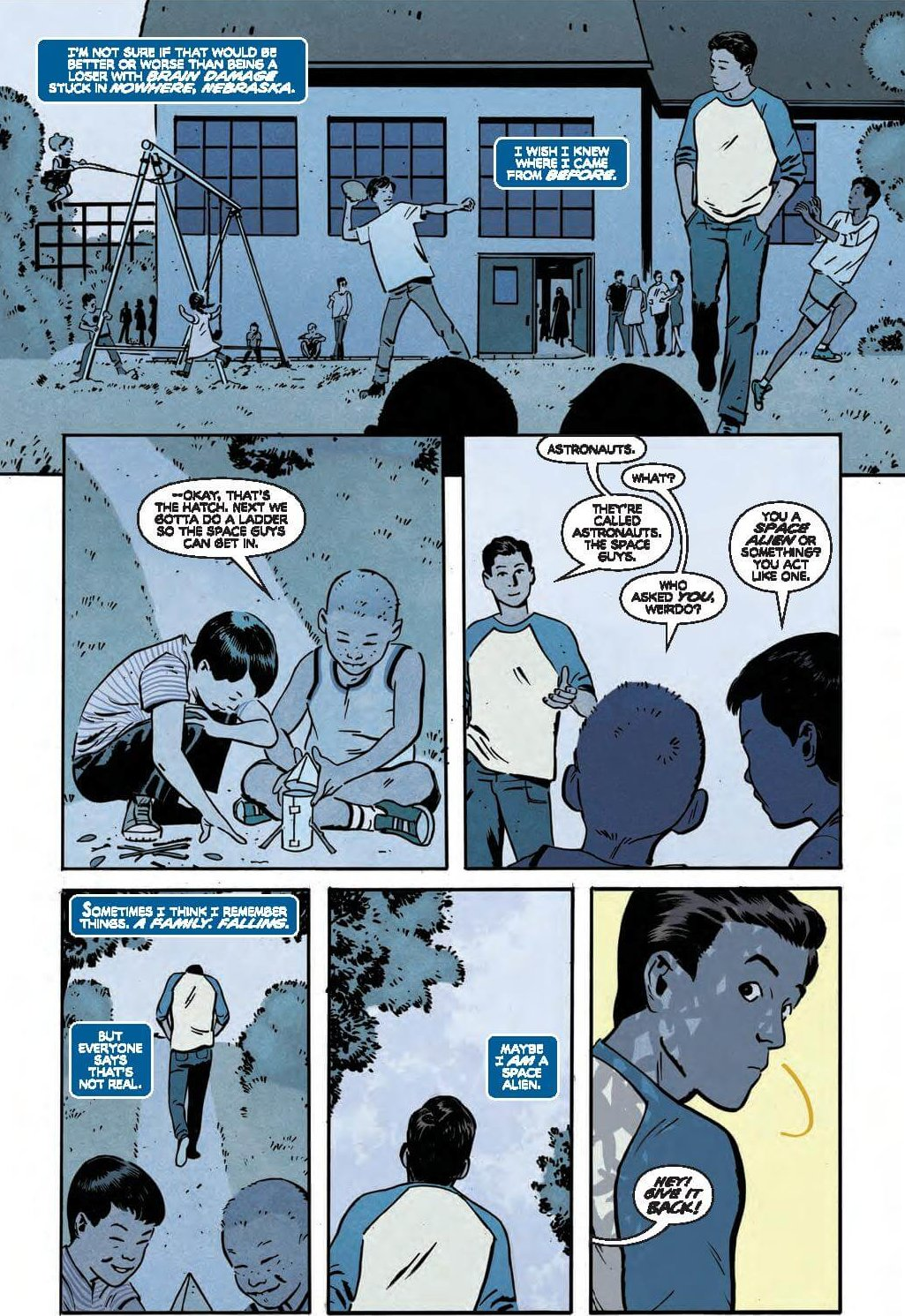 """Full Page: Scott Corrects kids on the playground who call astronauts, """"space guys"""""""