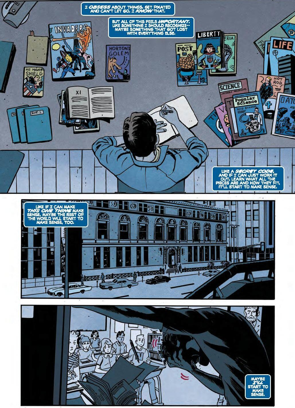 """Full Page: Scott Summers obsessing over how to """"break the code"""" on making sense of his own situation, by studying the fantastic four."""